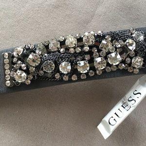 Guess Black w Rhinestones Chains Snap Bracelet